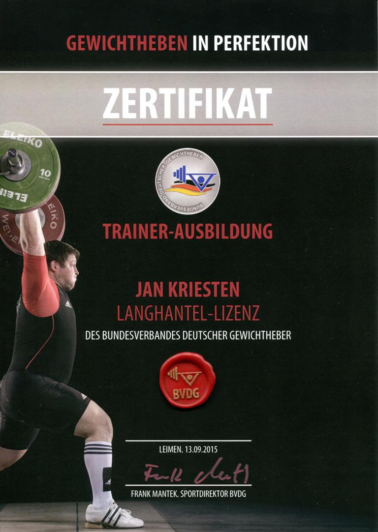 BVDG Langhantel-Lizenz